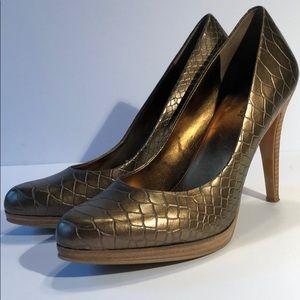 Bronze Nine West pumps heels worn once 8.5